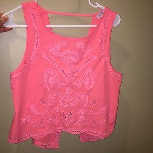 Tobi bright pink embroidered crop top